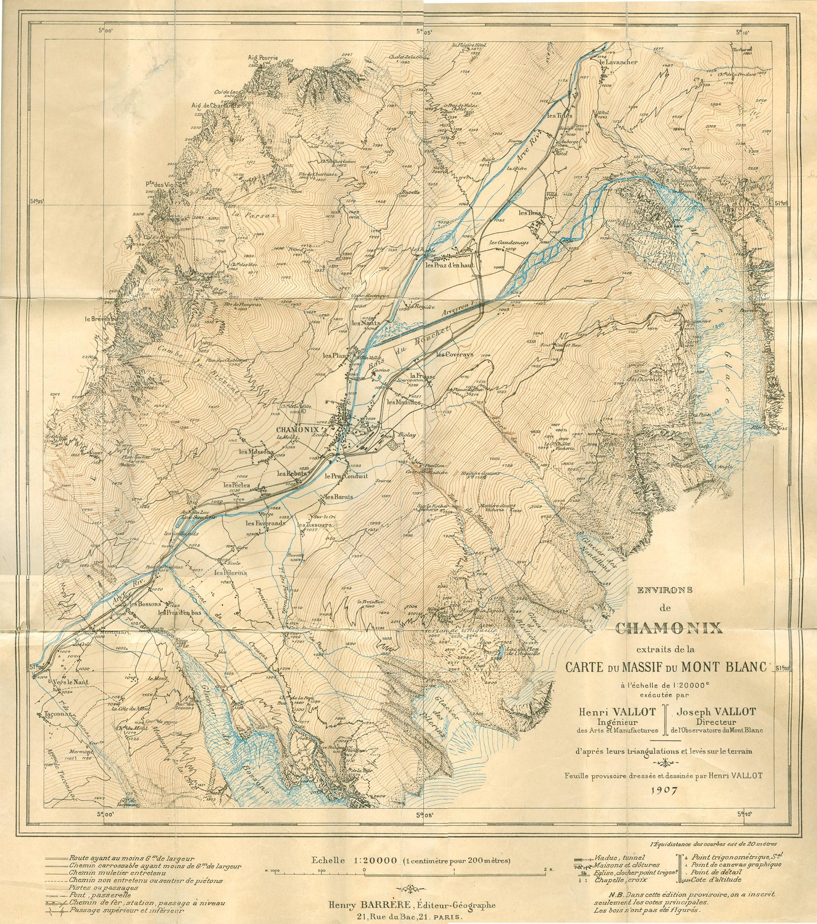 Environs de Chamonix extraits de la Carte du Mont Blanc par Henri et Joseph Vallot